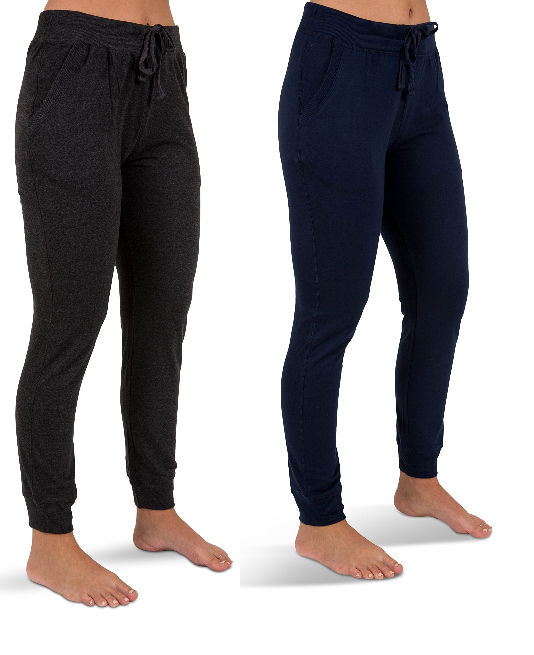 Sexy Basics Women's 2 Pack Yoga Activewear Jogger Capri Cropped Sweat Lounge Pants (2 Pack- Navy/Charcoal, Large)