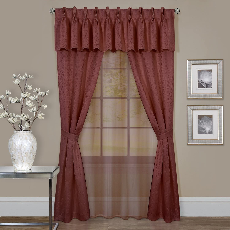 Achim Home Furnishings Fairfield Window in a Bag, 55 63-Inch, Taupe, Marsala
