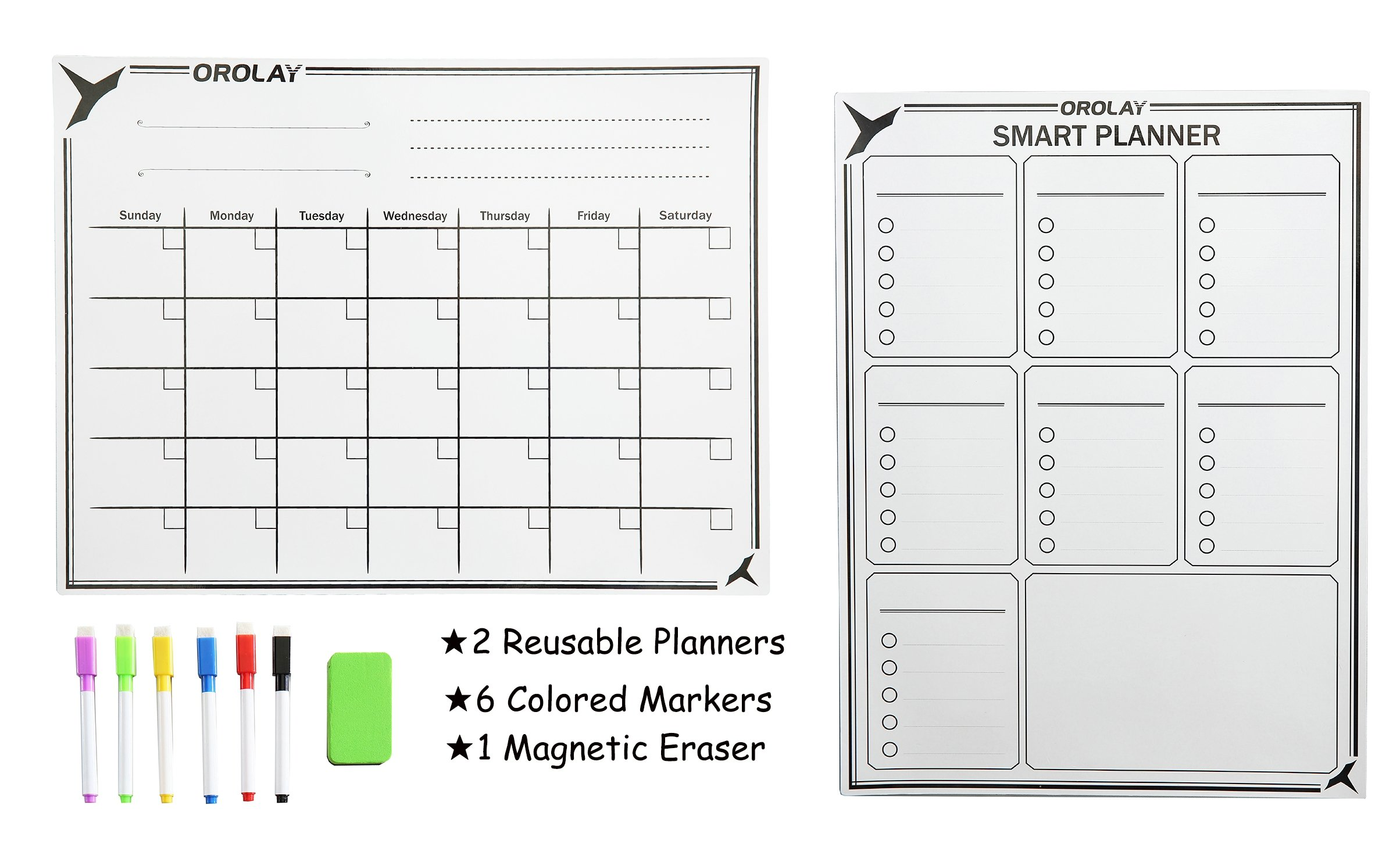 Orolay Refrigerator Stickers Planner Calendar White Board Dry Erase Set Monthly Weekly Daily Planners (White)