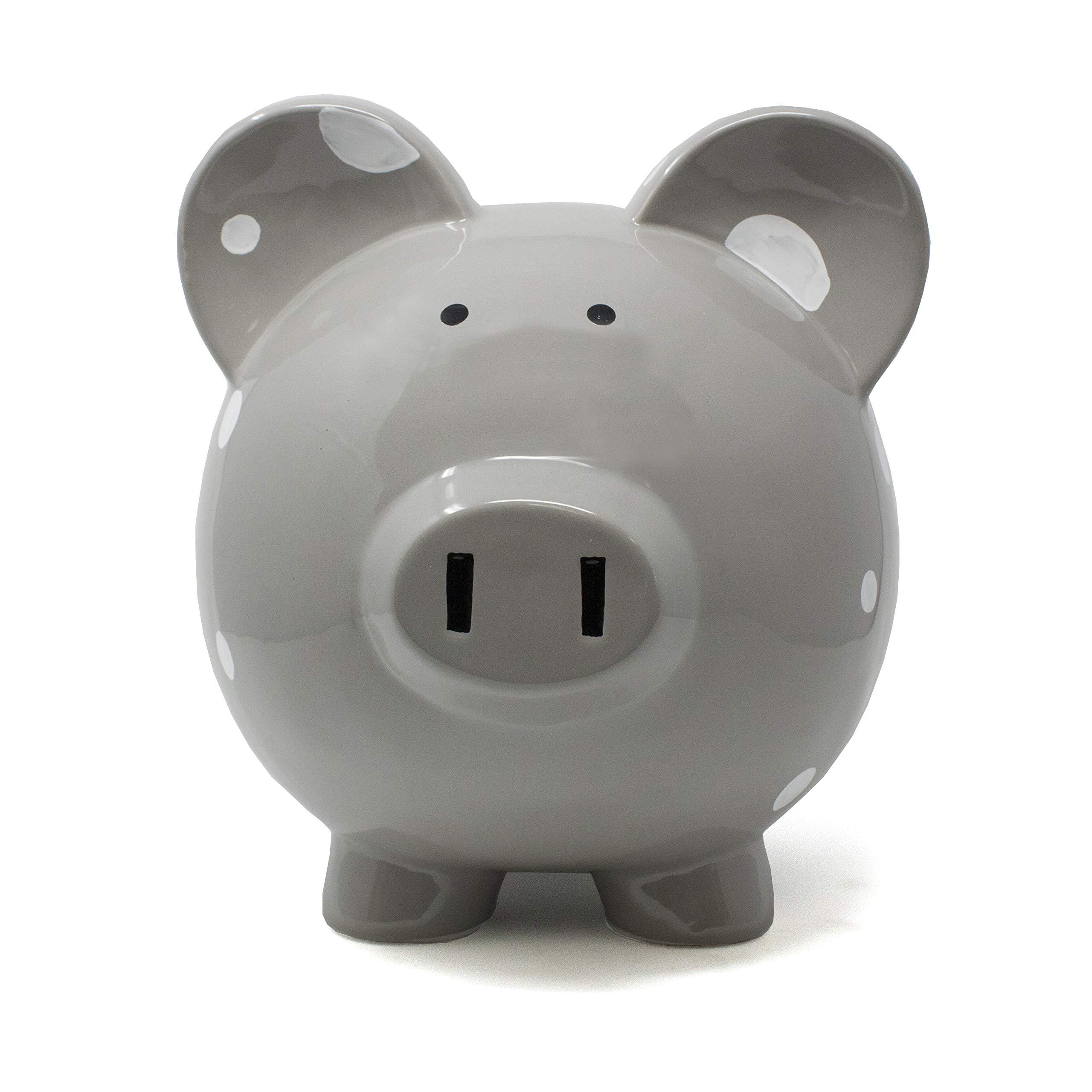 Child to Cherish Large Ceramic Boss Piggy Bank, Gray Polka Dot by Child to Cherish (Image #5)