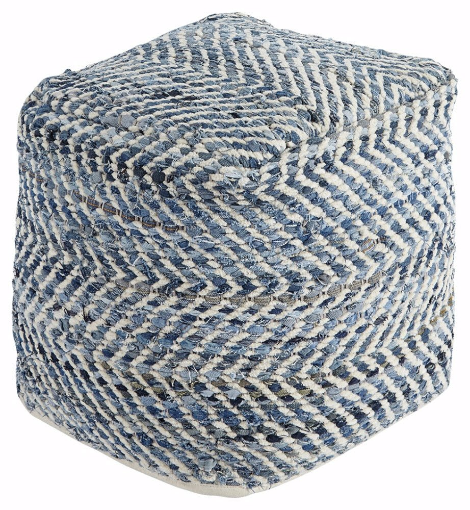 Ashley Furniture Signature Design - Chevron Pouf - Hand Woven Traditional Styling - Comfy Chair or Footrest - Blue