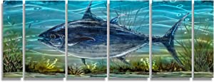 Large Tuna Metal Art Wall Decor Modern Nautical Blue Fish Hanging Sculpture Hand-polished Coastal Home Accent Multi-panel for Living Room