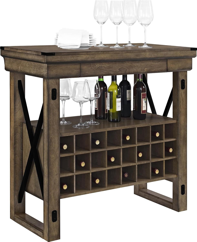 Amazon.com: Altra Furniture Wildwood Wood Veneer Bar Cabinet, Rustic Gray:  Kitchen U0026 Dining