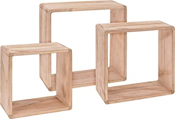 Wandregal würfel holz  Holz Wandregal Würfel 3er Set - 30 / 27 / 24 cm - Würfelregal ...