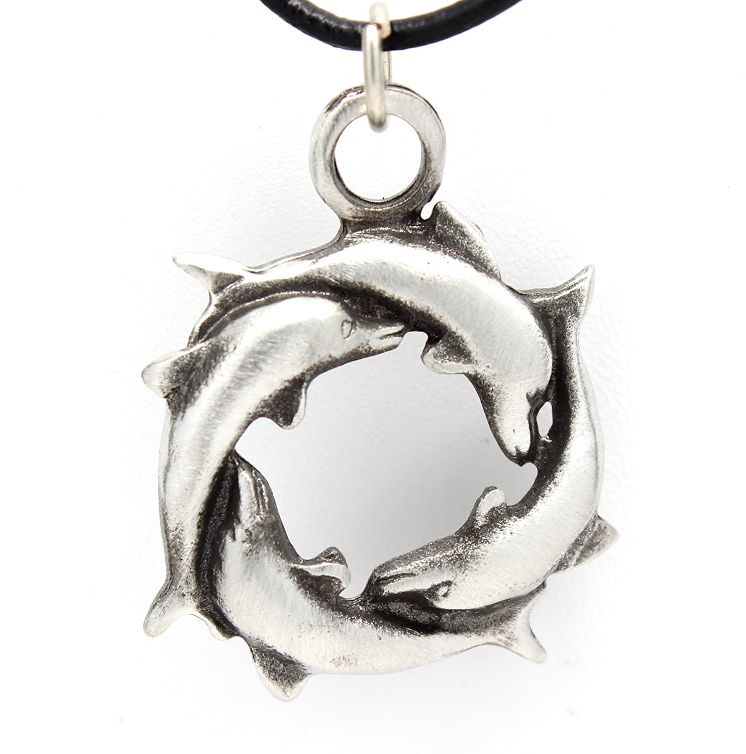 Pewter Circle Dolphin Pendant on Leather Necklace