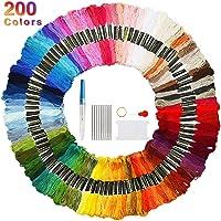 Faminess 200 Madejas Bordado Hilos de Aleatorio Colores