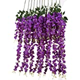 Luyue 3.18 Feet Artificial Silk Wisteria Vine Ratta Silk Hanging Flower Wedding Decor,6 Pieces,White (Purple)