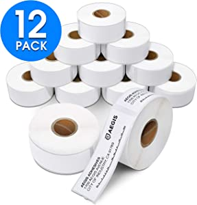 """Aegis - Compatible 30252 (1-1/8"""" X 3-1/2"""") Direct Thermal Labels Replacement for DYMO 30252 Address & Barcode - for Rollo, Labelwriter 450, 4XL & Zebra Desktop Printers (12 Rolls)"""