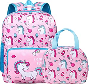 Unicorn Backpack for Girls, Toddler, Kids, Teen, Pink School Bookbag For Elementary Kindergarten Student, Preschool Children With Lunch Bag