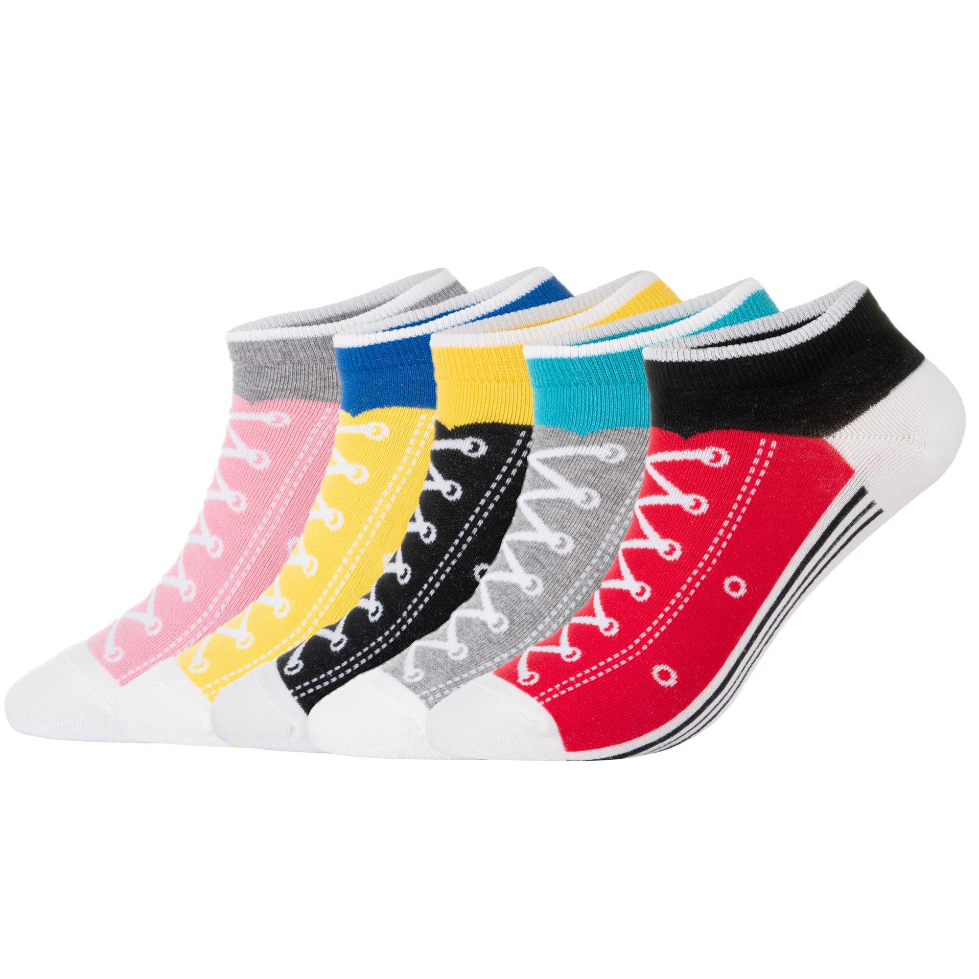 KONY Women's 5 Pack Lightweight Cotton (86%) Fun Novelty Low Cut Socks Cool Sneakers Ankle Socks Gift Idea Size 6-10