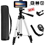 Dshine 40 Inch 100 cm Aluminium Lightweight Tripod for Phone and Camera with Bluetooth Remote Control, Carrying Bag and Gopro Mount (Silver)