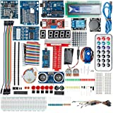 uxcell UNO Project Super Starter Kit with Tutorial,UNO R3, Power Supply Module, Servo Motor, 9V Battery with DC, Prototype Expansion Board, ect. for Arduino