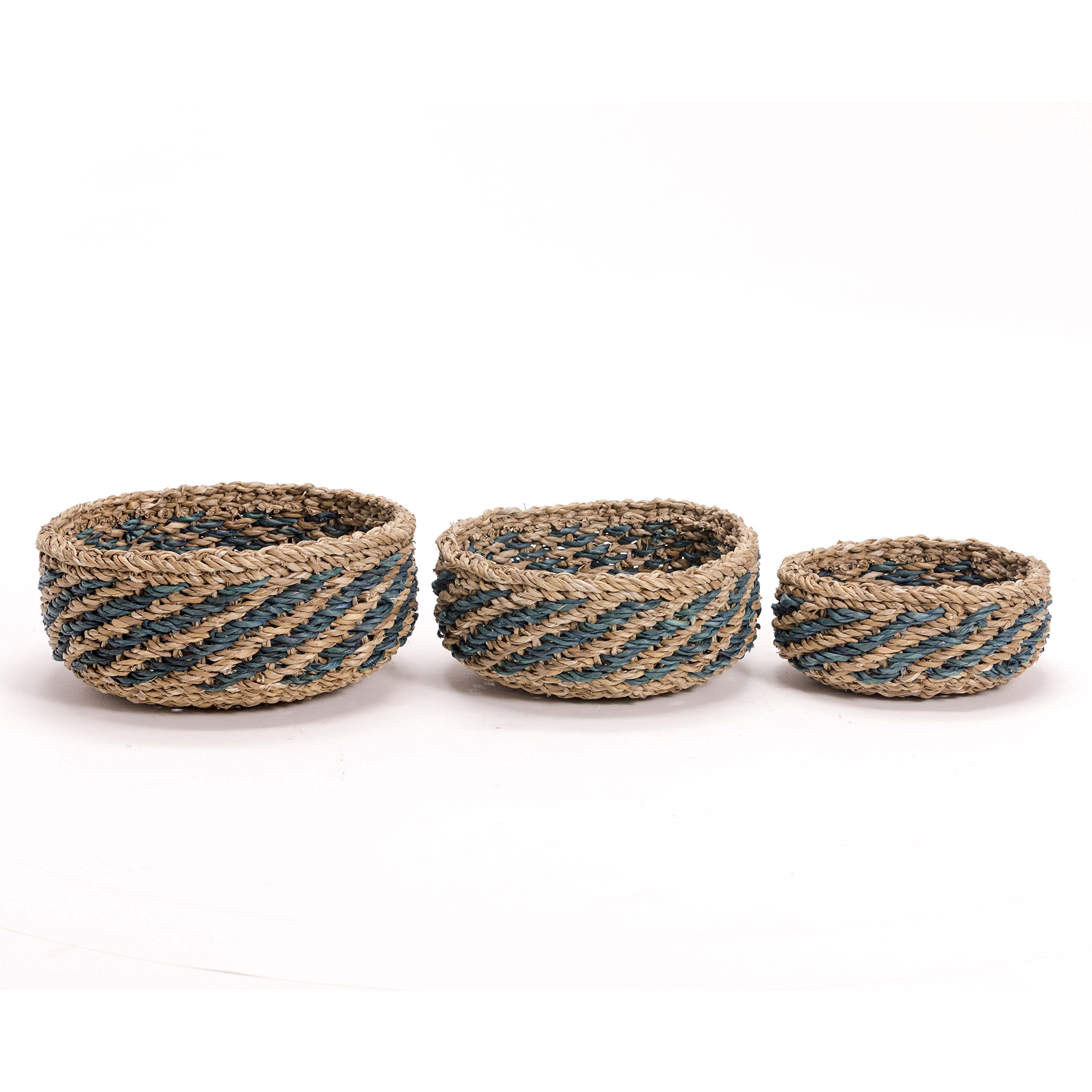 Whole House Worlds The Made by Nature Beach House Bowls, Set of 3, Natural Chunky Sweater Weave, Seaside Blue Stripes, Handmade, From 12-8 Inches In Diameter, By
