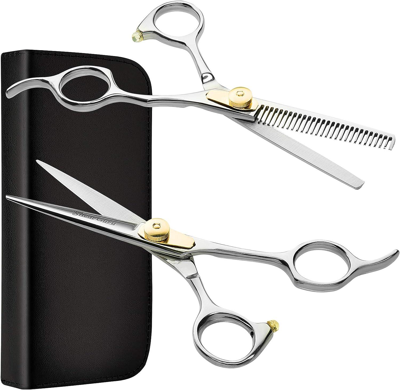 Professional Barber Salon Scissor Hair Cutting Set 6 5 Straight Edge Razor Sharp Scissor Texturizing Thinning Shears Styling Hair For Women Men Plus Bonus Faux Leather Case By Shearguru Amazon Ca Beauty