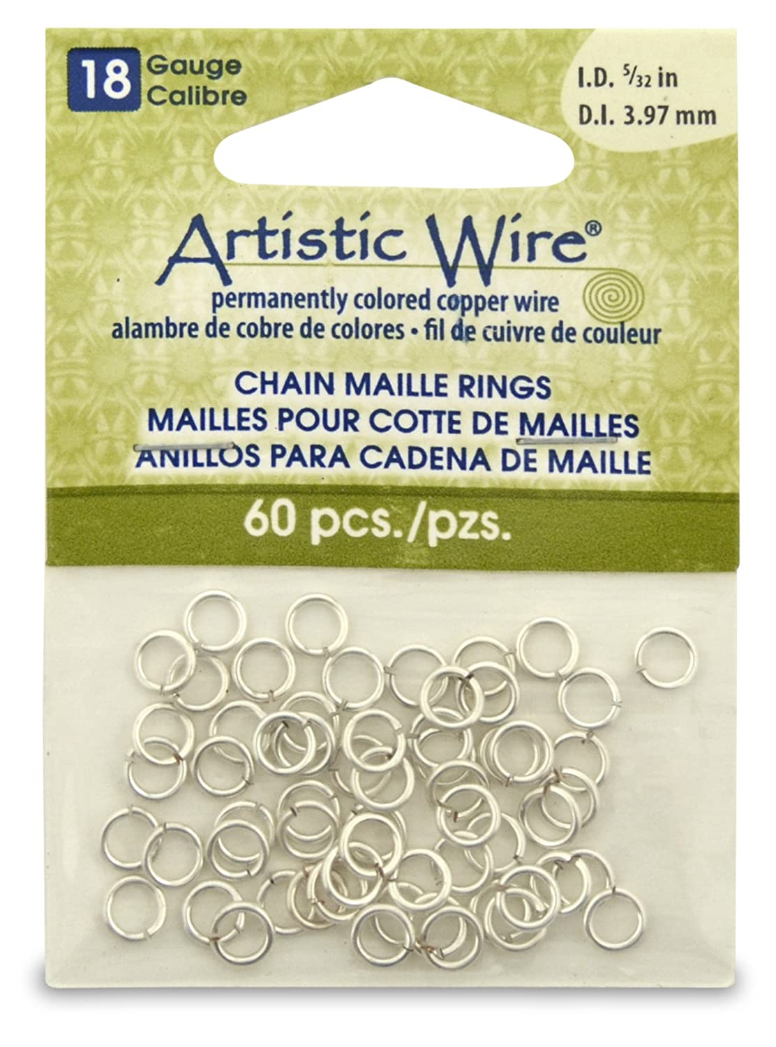 Artistic Wire Beadalon 5/23-inch 60 Piece 18-Gauge Non-Tarnish Chain Maille Rings, Silver A314-18S-10-06