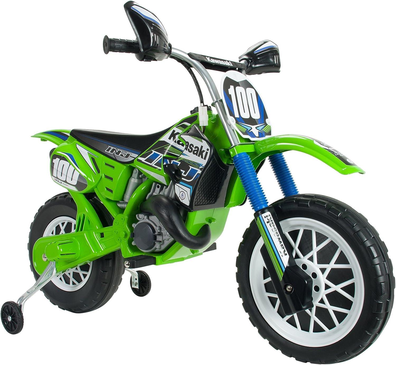 INJUSA Moto de Cross Kawasaki a Batería, Color Verde, Talla Única (6775)