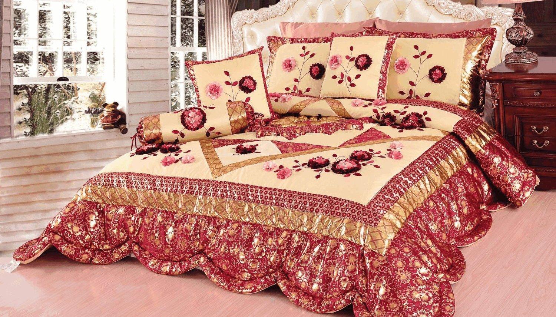 Tache 4–6 Stück Floral Rot und Gold Rose Garden Patchwork Tröster, Quilt Set, Polyester-Mischgewebe, ROT, Gold, Pink, Multi, King Größe
