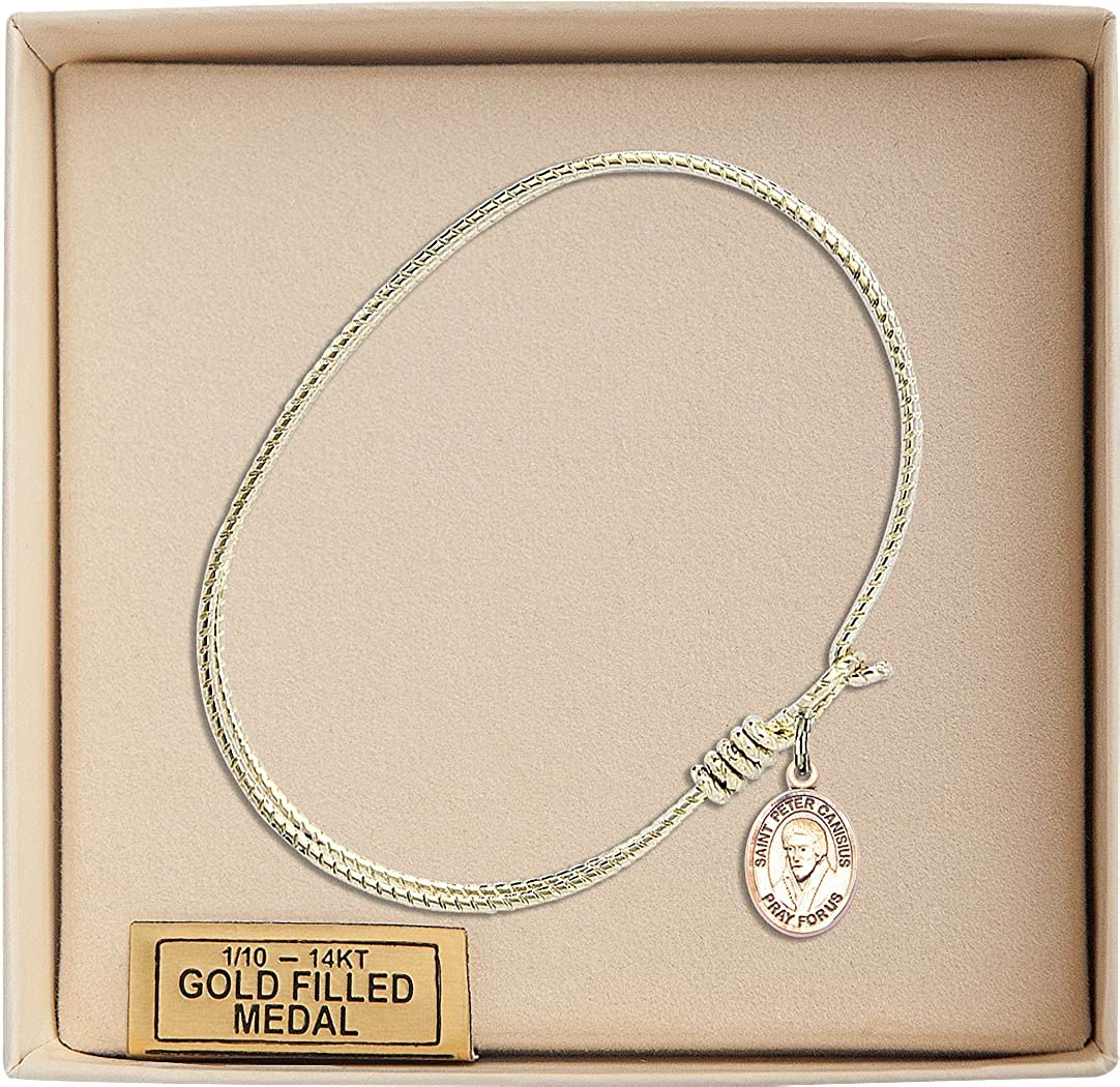 St Peter Canisius Charm On A 7 1//4 Inch Oval Eye Hook Bangle Bracelet