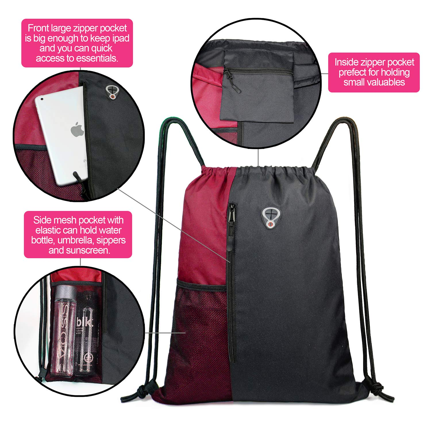 Vertical House Stripes Large Drawstring Backpack Sports Athletic Gym Cinch Sack String Storage Bags for Hiking Travel Beach