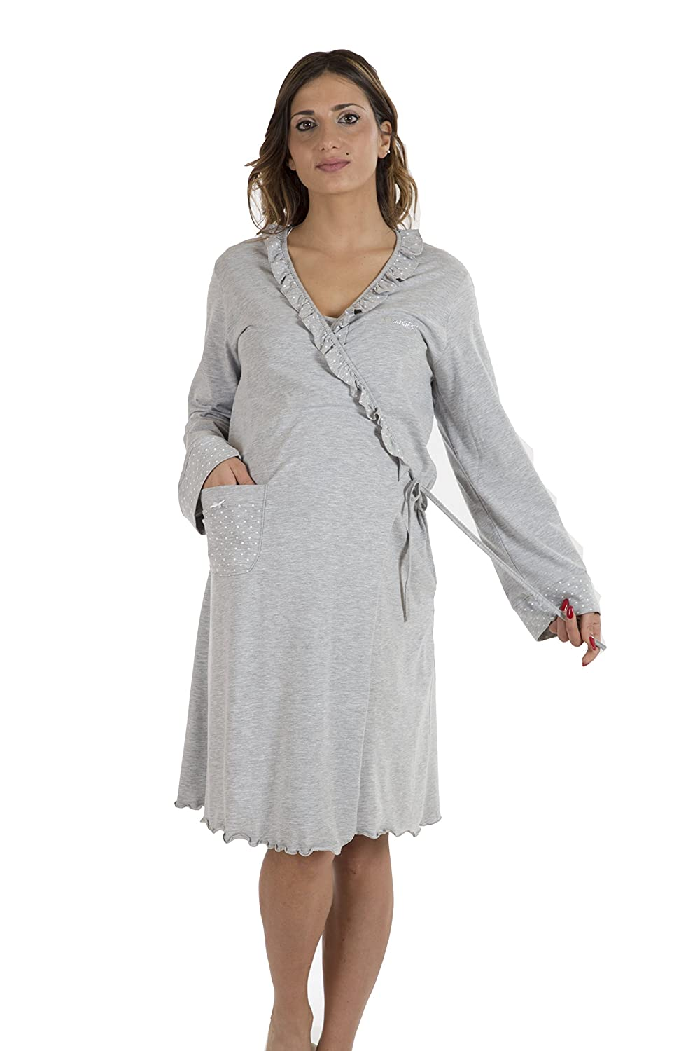 Premamy - Maternity Hospital Nightie Robe Labour Birth - Colour: Grey