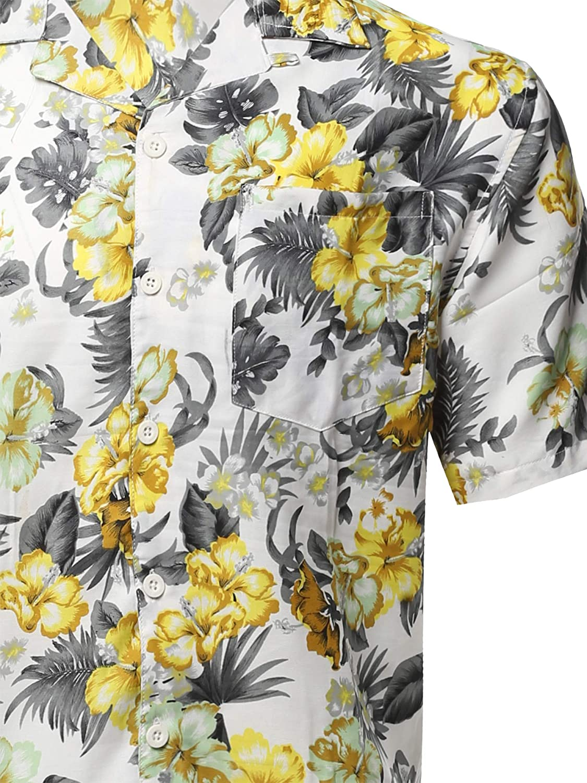 Youstar Mens Casual Printed Hawaiian Style Short Sleeves Shirt