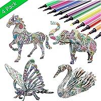 Amazon.com deals on Kazoku 3D Coloring Puzzle Set 4 Animals Puzzles w/12 Markers