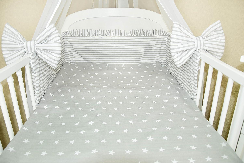 Amilian/® Baby Bettw/äsche 5tlg Bettset mit Nestchen Kinderbettw/äsche Himmel 100x135cm NEU Chiffonhimmel Sternchen Grau