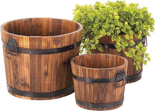 Juego de 3 macetas de barril de whisky, tres macetas grandes de madera, macetas de madera,