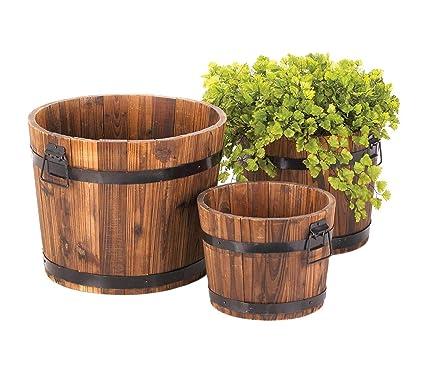 Amazon.com: Whiskey - Juego de 3 macetas de barril de madera ...