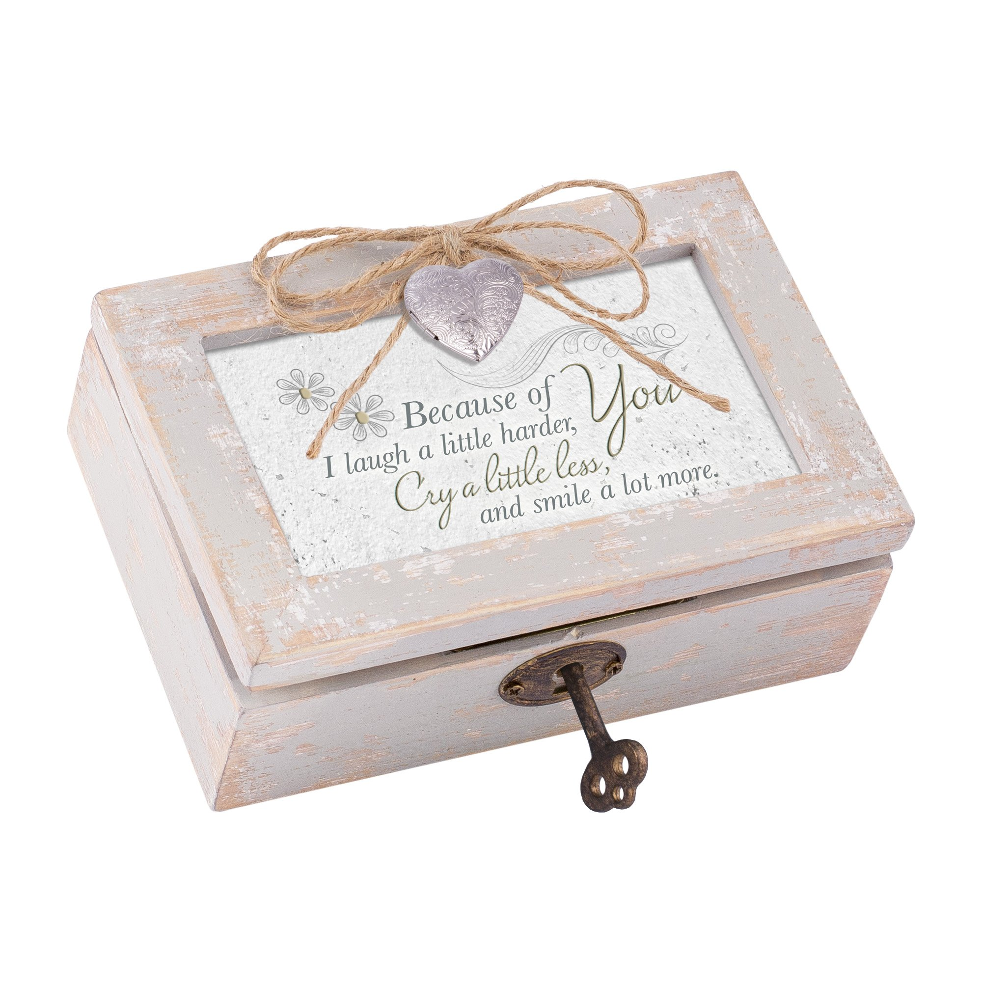 Because of You Smile Distressed Wood Locket Jewelry Music Box Plays Tune That's What Friends are For