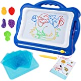 SGILE Magnetic Drawing Board Toy, Latest Magna Doodle Writing Painting Board with 5 Stamps 6 Sketch Boards and Album, Non-Toxic Color Erasable Sketching Sketch Pad for Toddlers Kids Girls Boys, Blue