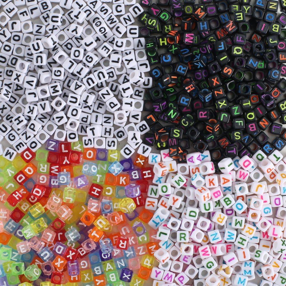FOGAWA 800 Piezas Perlas Letras Cuentas de Letras Colorido Letras de Plastico Mezclados Abalorios Letras Perlas Letras
