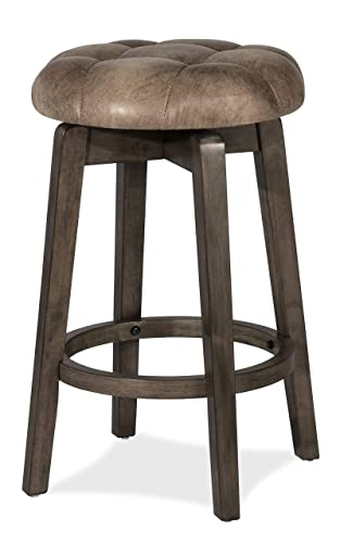 INK IVY Boomerang 36.25 Counter Height Barstool with Backrest Modern Solid Wood, Upholstered Foam Seat, Faux Linen Pub Chair, Light Grey