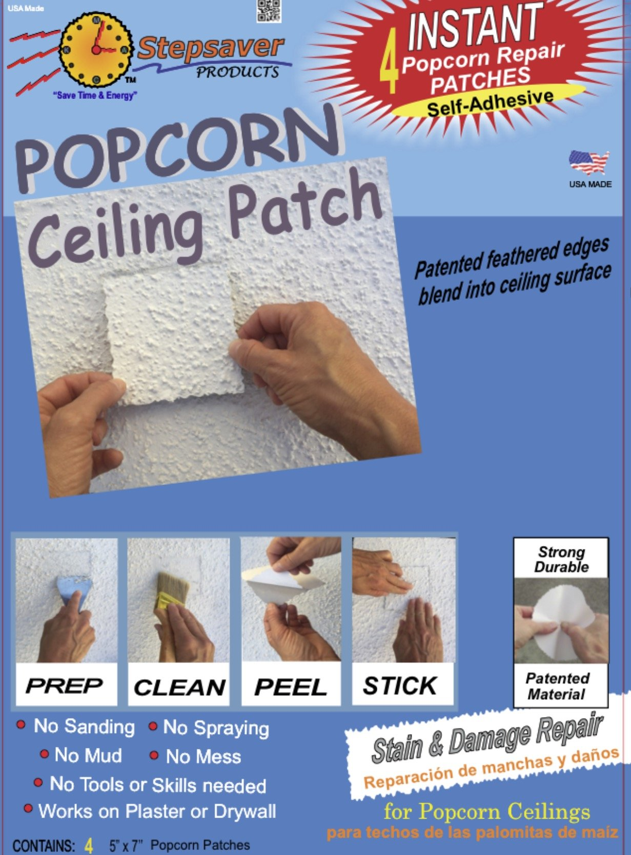 Self-Adhesive Popcorn Ceiling Patch by Stepsavers