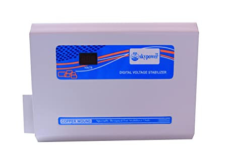 Skypower 4kVA 150 280V Copper Digital Voltage Stabilizer for 1 to 1.5 Ton Air Conditioner  White and Blue  Stabilizers