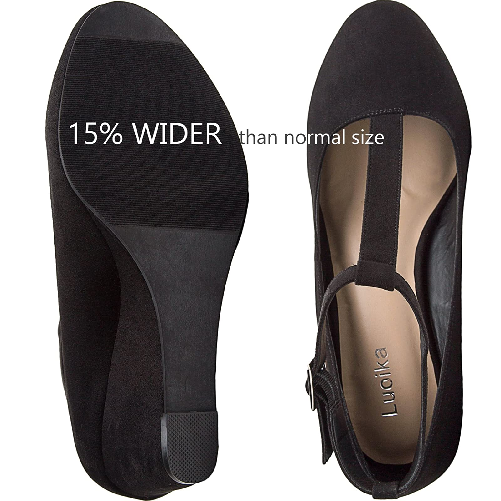 Luoika Women's Wide Width Wedge Shoes - Black 6 W(W)US - 3