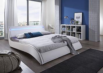 Wasserbett led  SAM® Design Polsterbett Bett Suva LED in weiß 140 x 200 cm ...