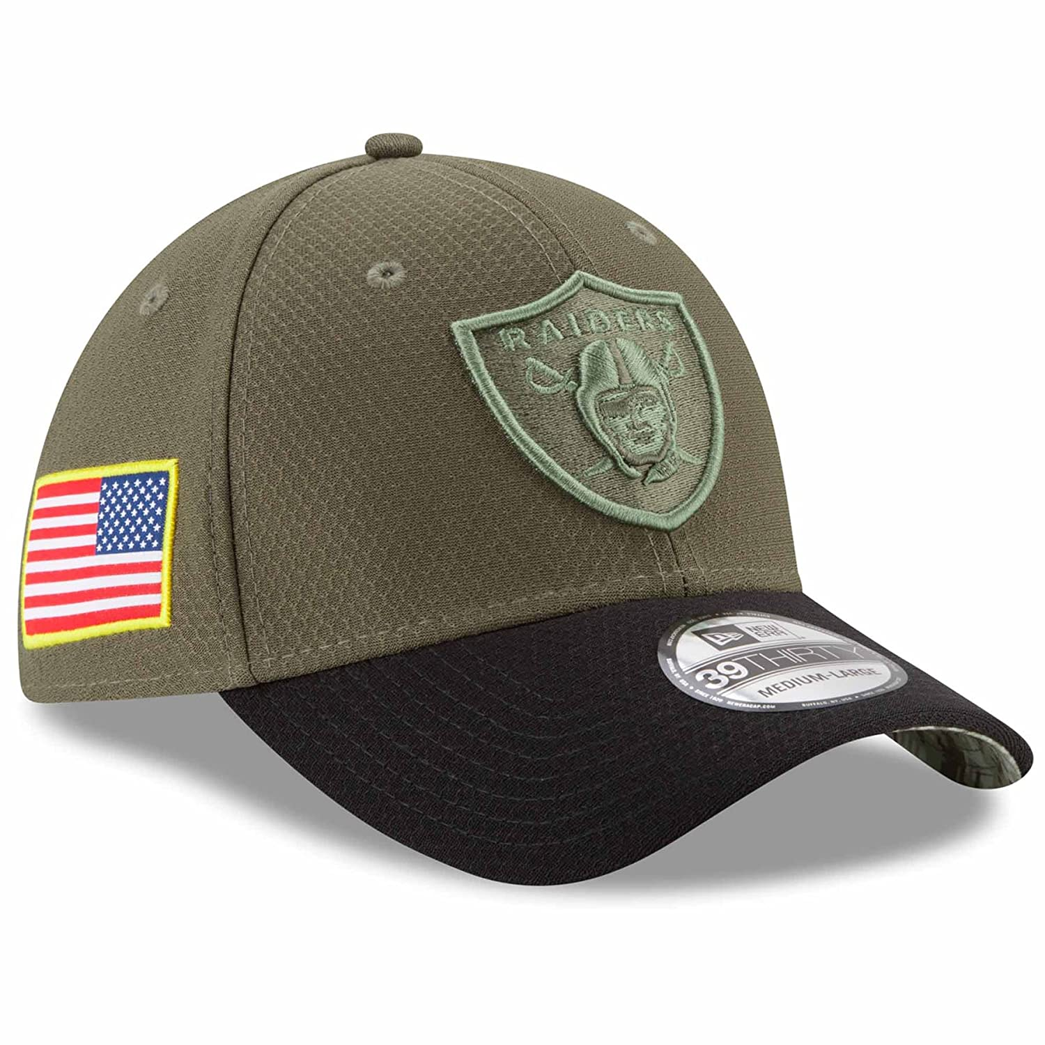 Amazon.com   New Era Oakland Raiders NFL 39THIRTY 2017 Sideline Salute to  Service Hat   Sports   Outdoors 9d3995af7