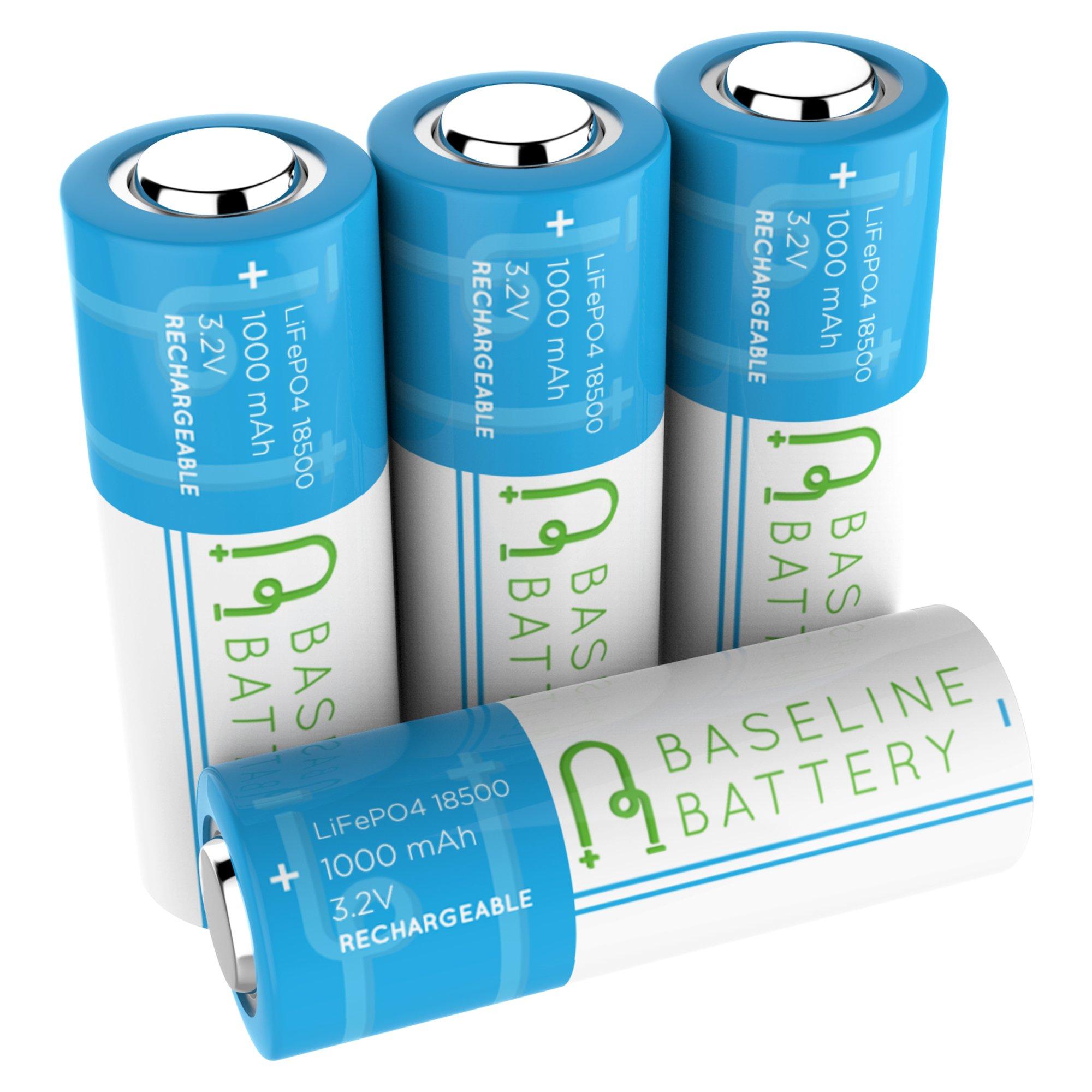 4 Baseline Battery 1000 mAh IFR 18500 3.2v LiFePO4 Lithium Phosphate Rechargeable Batteries Solar Garden Light