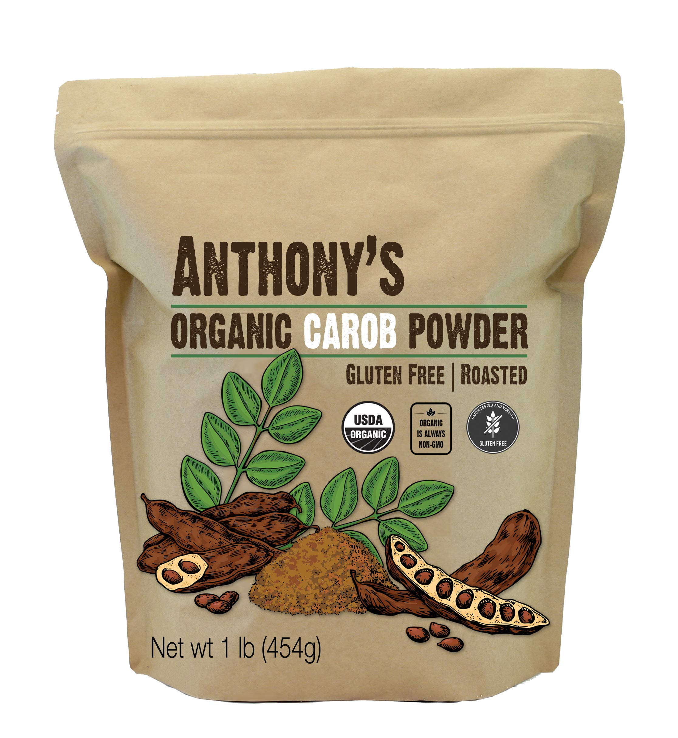 Anthony's Organic Carob Powder, 1 Pound, Gluten Free, Non GMO, Cocoa Powder Alternative, Unsweetened
