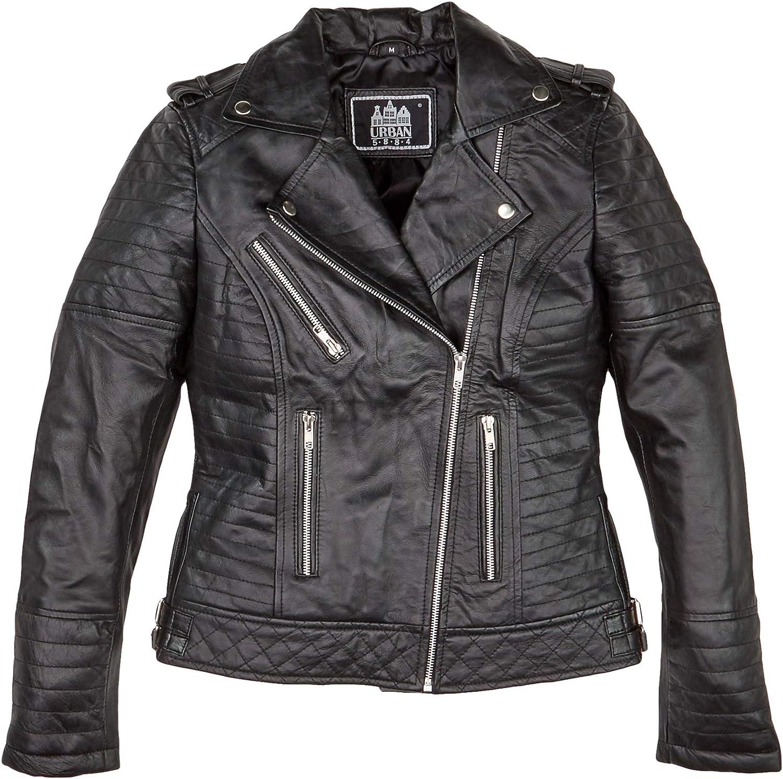Blu Navy Urban Leather Sylvia Fashion Giacca in Pelle da Donna Taglia L Marrone
