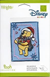 """Wrights Disney Home Pooh Collection Winnie The Pooh Singing Caroling Winter Christmas Patch 2""""x2.25"""" Embroidered"""