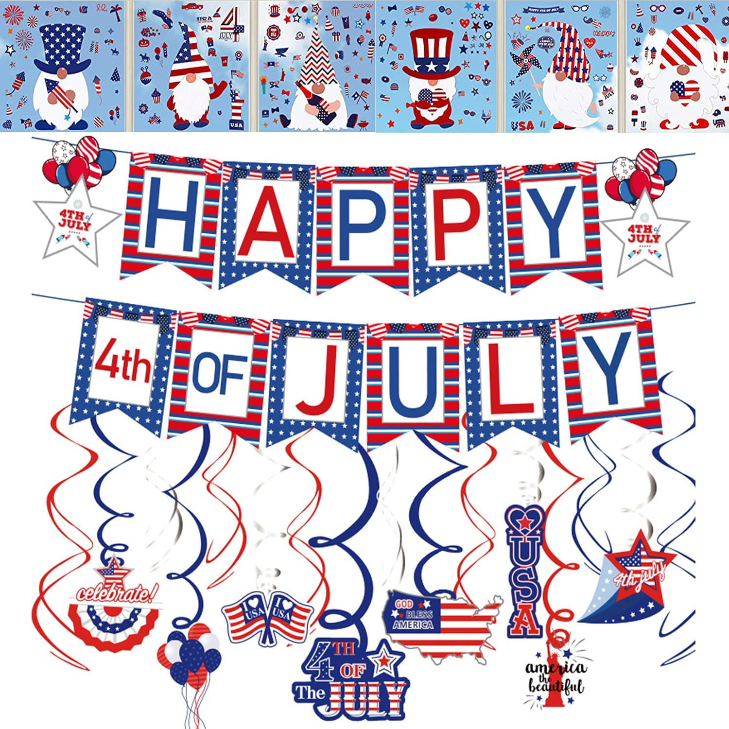 4th of July Patriotic Decorations Set,Red & White & Blue Happy July Banner and 15Pcs Hanging Swirls Party Decor Supplies Window Clings Stickers ,9 Sheet 143 pcs Independence Day American Flag Stars Window Decals Static Stickers for Home Office Party Ornaments