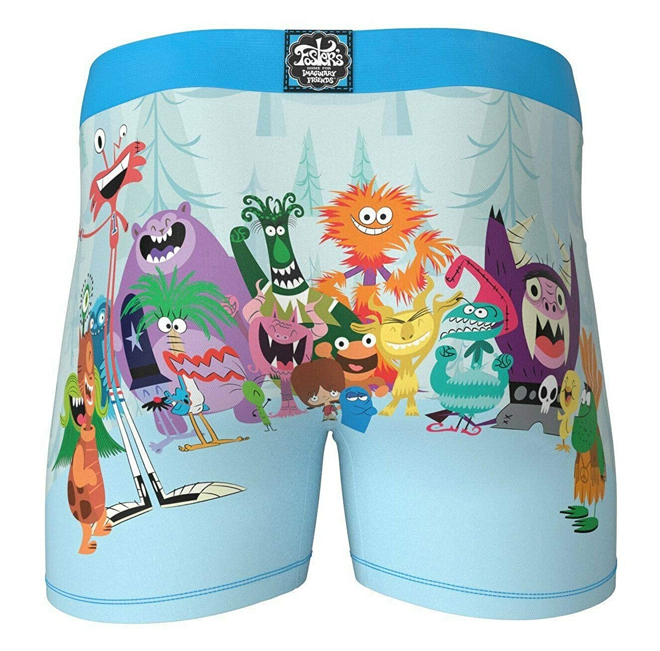 Crazy Boxer Mens Fosters Imaginary Friends Fitted Boxer Brief Underwear Large Blue