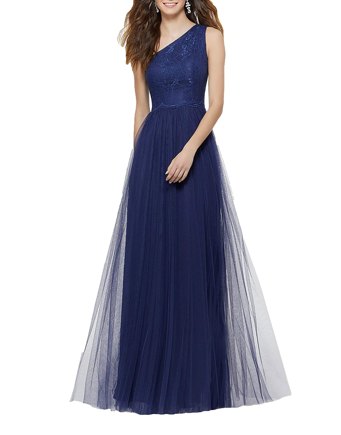 Navy bluee ANFF One Shoulder Lace Net Bodice Zipper Back Long Formal Evening Prom Gowns for Juniors