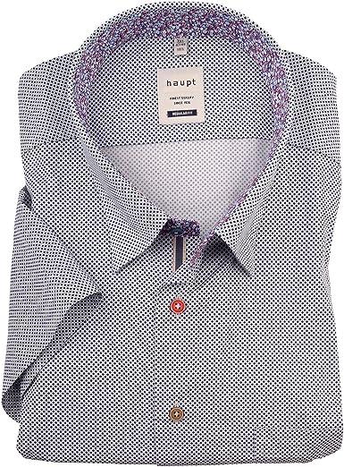 Haupt XXL Camisa de Manga Corta Azul-Blanca con Estampado geométrico: Amazon.es: Ropa y accesorios