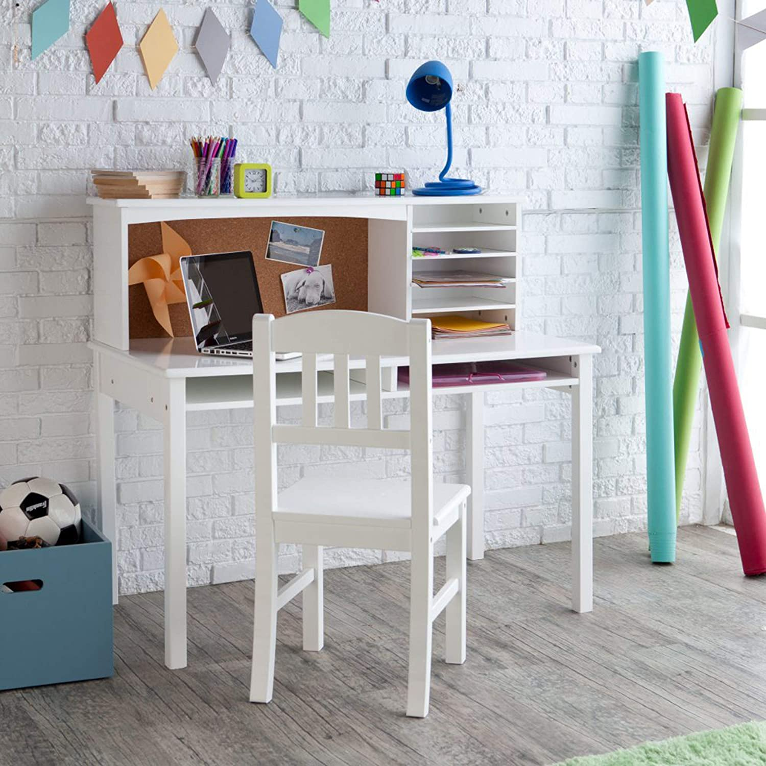 Phenomenal Guidecraft Childrens Media Desk And Chair Set White Student Study Computer Workstation Wooden Kids Bedroom Furniture Gmtry Best Dining Table And Chair Ideas Images Gmtryco