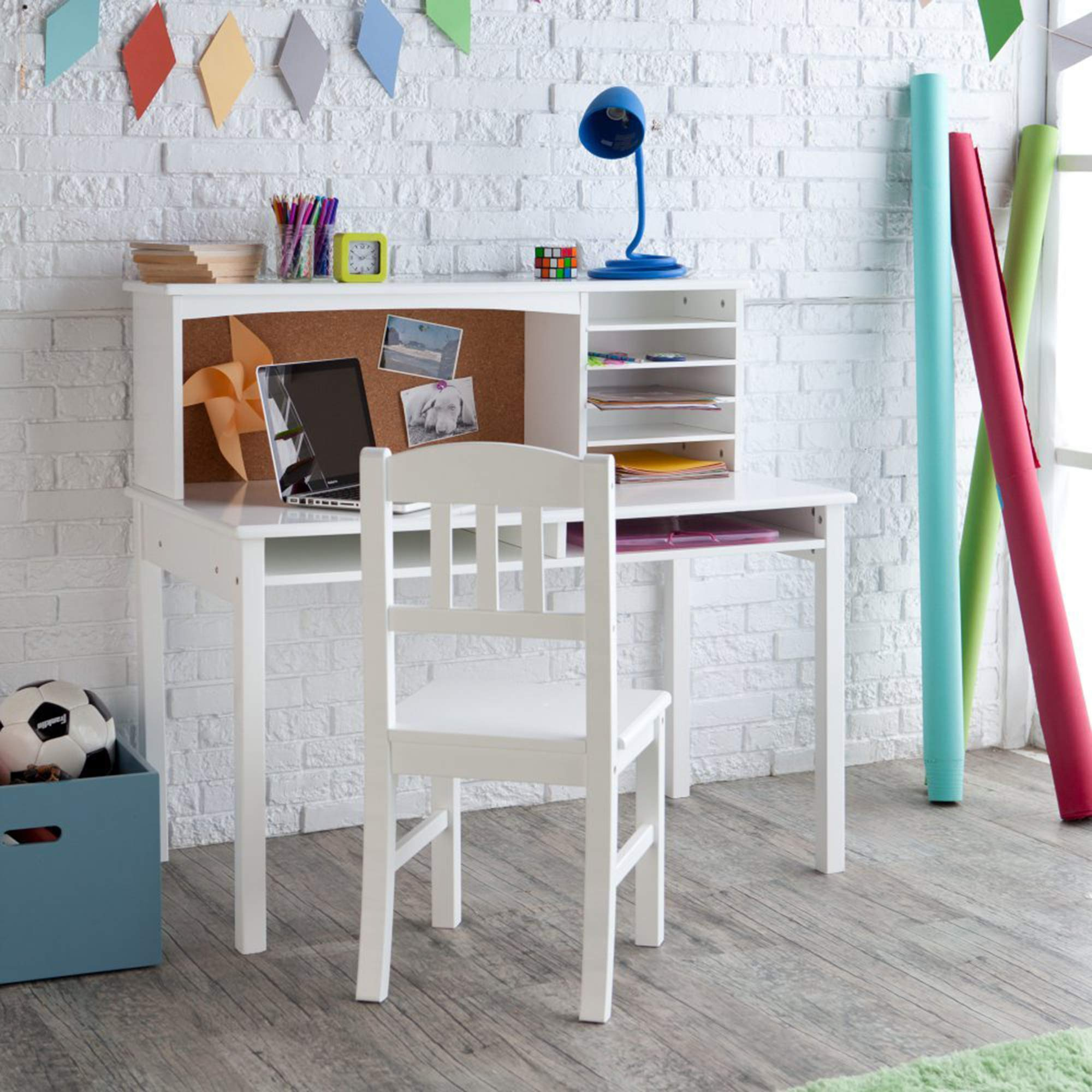 Guidecraft Children's Media Desk and Chair Set White: Student Study Computer Workstation, Wooden Kids Bedroom Furniture by Guidecraft