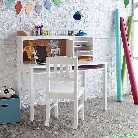 Guidecraft Children\'s Media Desk and Chair Set White: Student Study  Computer Workstation, Wooden Kids Bedroom Furniture