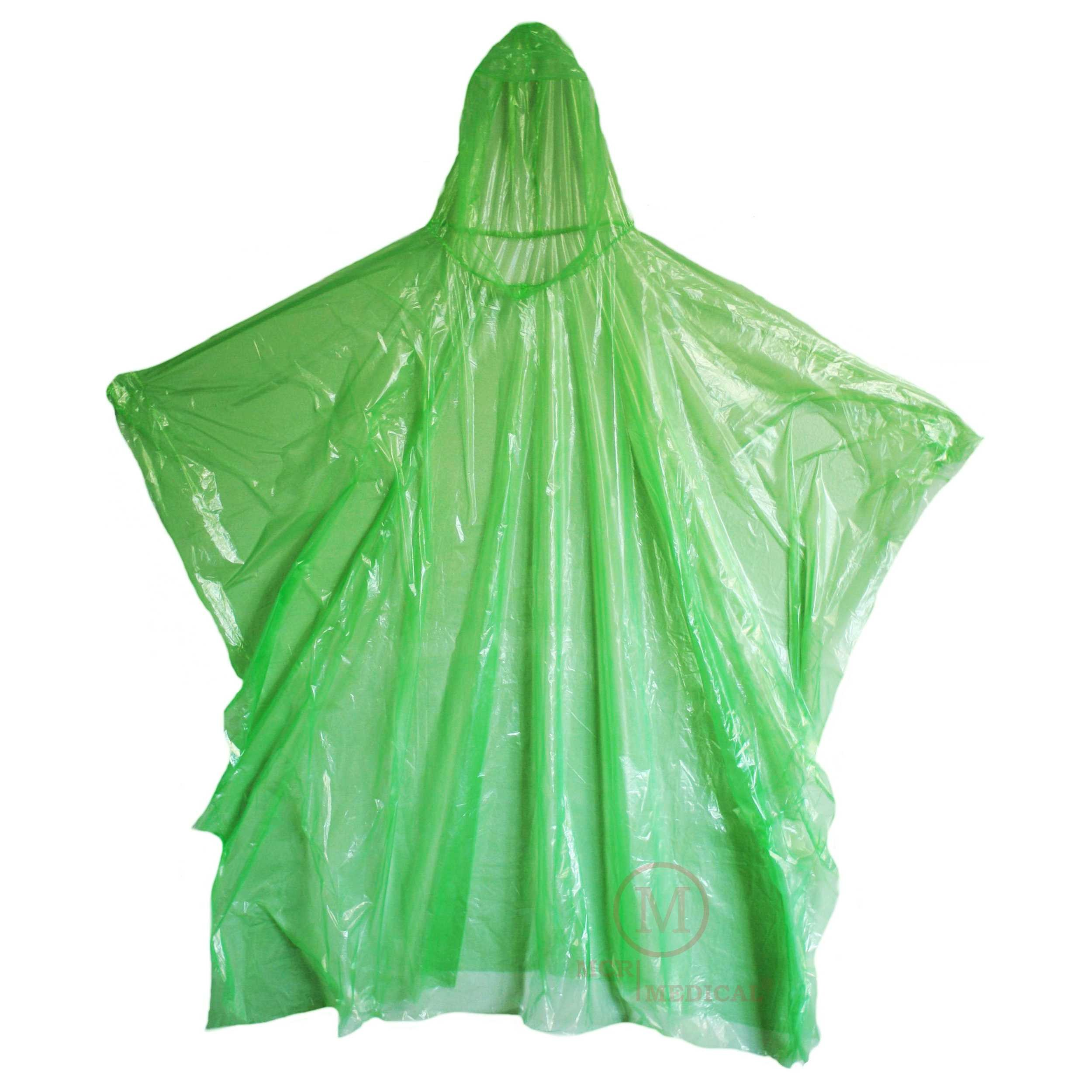 MCR Medical Disposable Rain Ponchos with Hood, Green (Pack of 50) … by MCR Medical